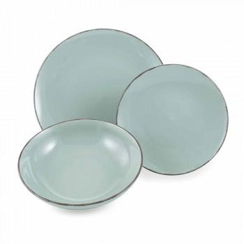 Colored Plates Set 18 Pieces Complete in Modern Design Stoneware - Abruzzo1
