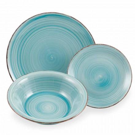 Dinnerware Set Colored Blue Tableware Set 18 Pieces - Abruzzo4