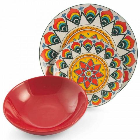 Colored Dinner Plates Set 18 Pieces Porcelain and Stoneware - Renaissance