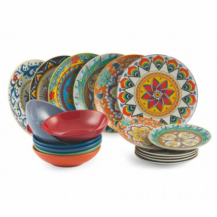 Colored Dinner Plates Set 18 Pieces Porcelain and Stoneware - Renaissance