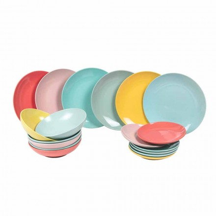 Dinnerware Set Colored Modern Tableware 18 Pieces Stoneware - Miami