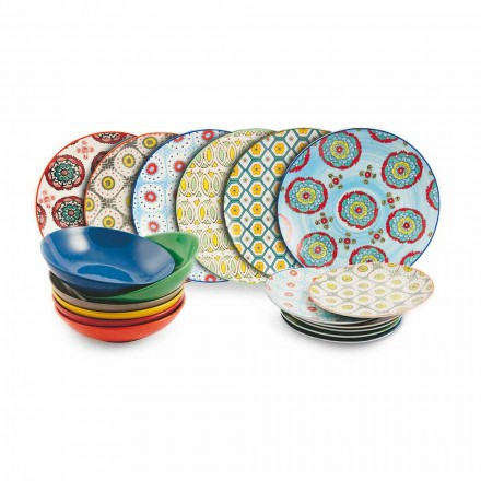 Set of Modern Ethnic Colored Plates in Porcelain and Stoneware 18 Pieces - Istanbul