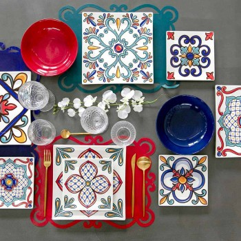 18 Piece Modern Gres and Porcelain Colored Plates Service - Iglesias