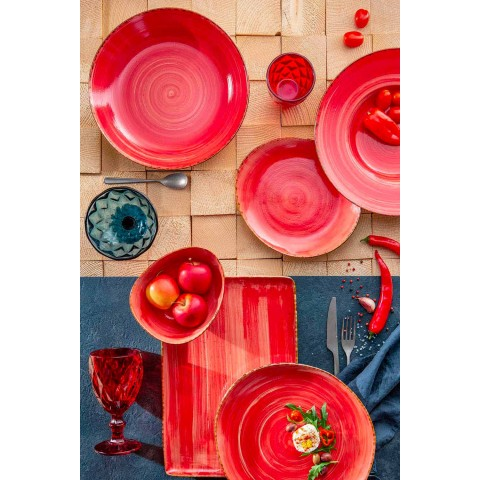 12 Pieces Appetizer Plates Service in Colored Stoneware of Modern Design - Simba