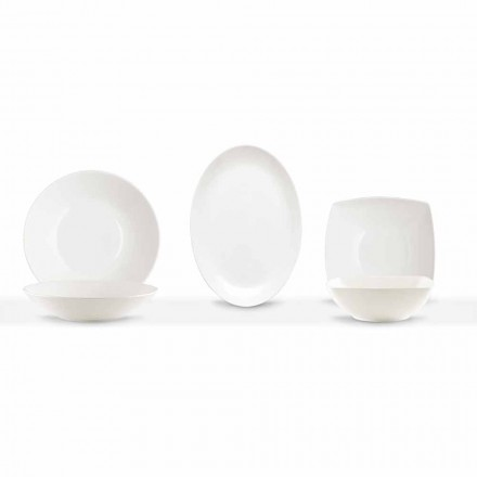 Serving Dishes 3 Pieces Modern Design in White Porcelain - Malaga