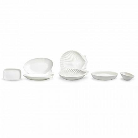 White Porcelain Serving Dishes Set 30 Pieces - Nalah