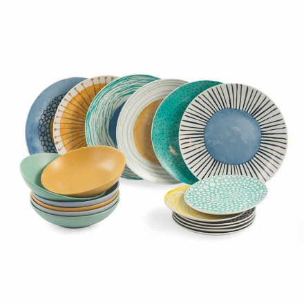Dinnerware Set 18 Pieces Porcelain and Colored Modern Gres - Backdrop
