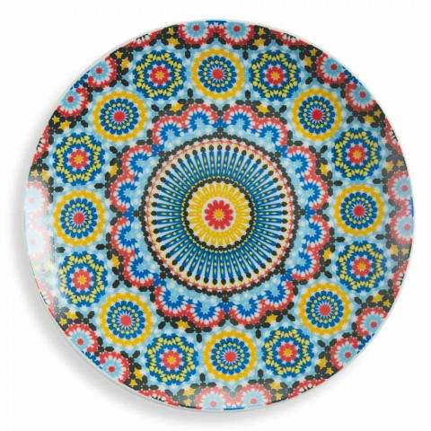 Colored Ethnic Dinner Plates Set Porcelain and Stoneware 18 Mad - Morocco