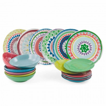 Ethnic and Colored Porcelain Tableware Set 18 Pieces - Aztecas