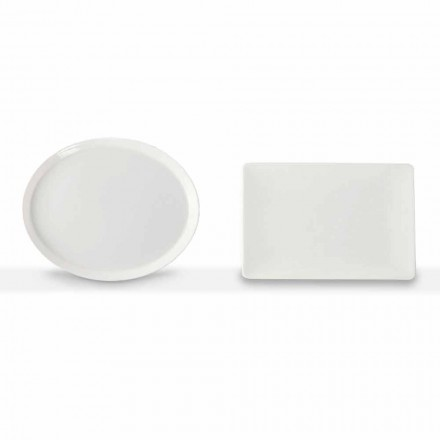 Dinner Plates Set Oval and Rectangular Design 3 Pieces in Porcelain - Egle