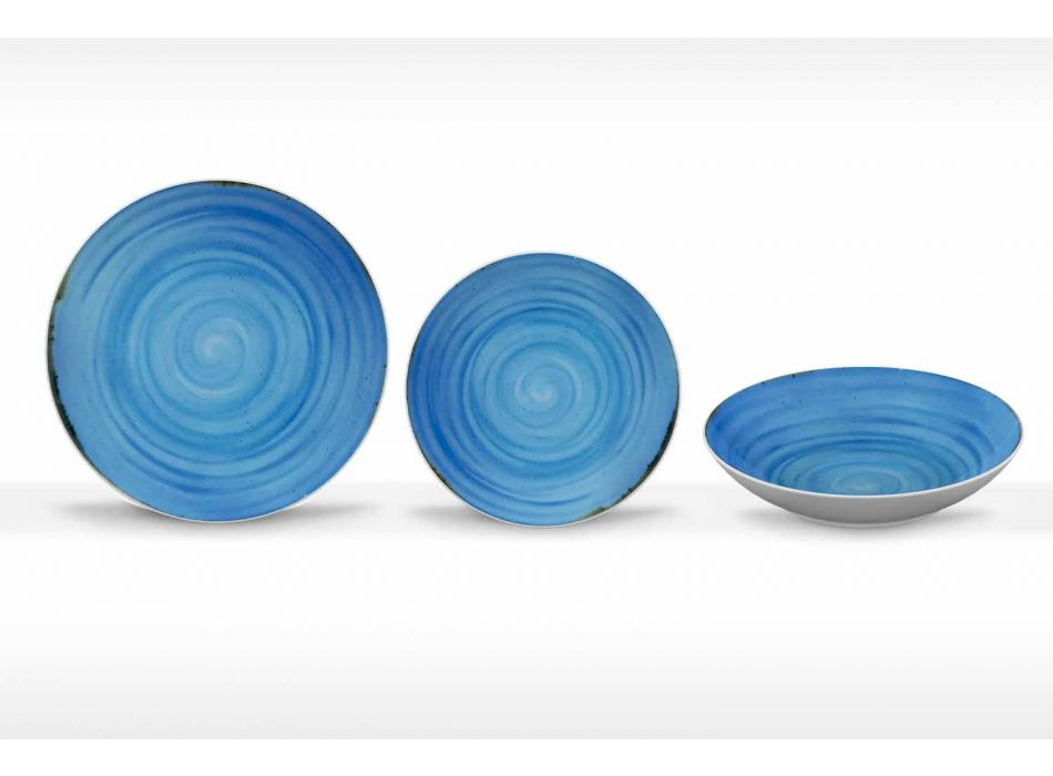 18 Piece Porcelain Colored and Modern Dinner Plate Service - Rurolo