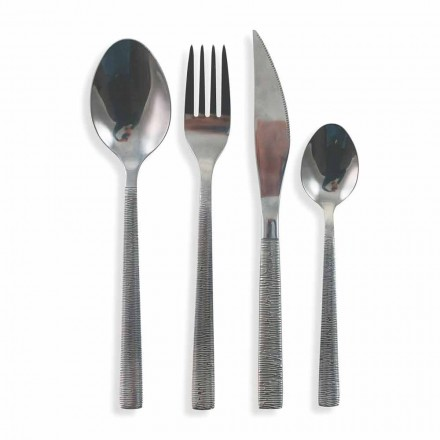 Cutlery Set 24 Pieces Complete Modern Design in Steel - Striped