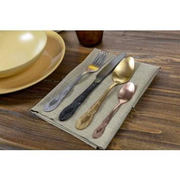Cutlery Set Colored Satin Steel Complete 24 Pieces Design - Fantasy