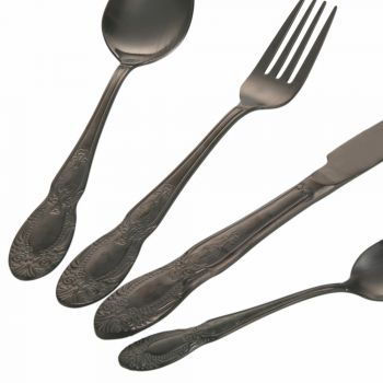 Black or Gold Satin Steel Cutlery Set Complete 24 Pieces - Fantasy