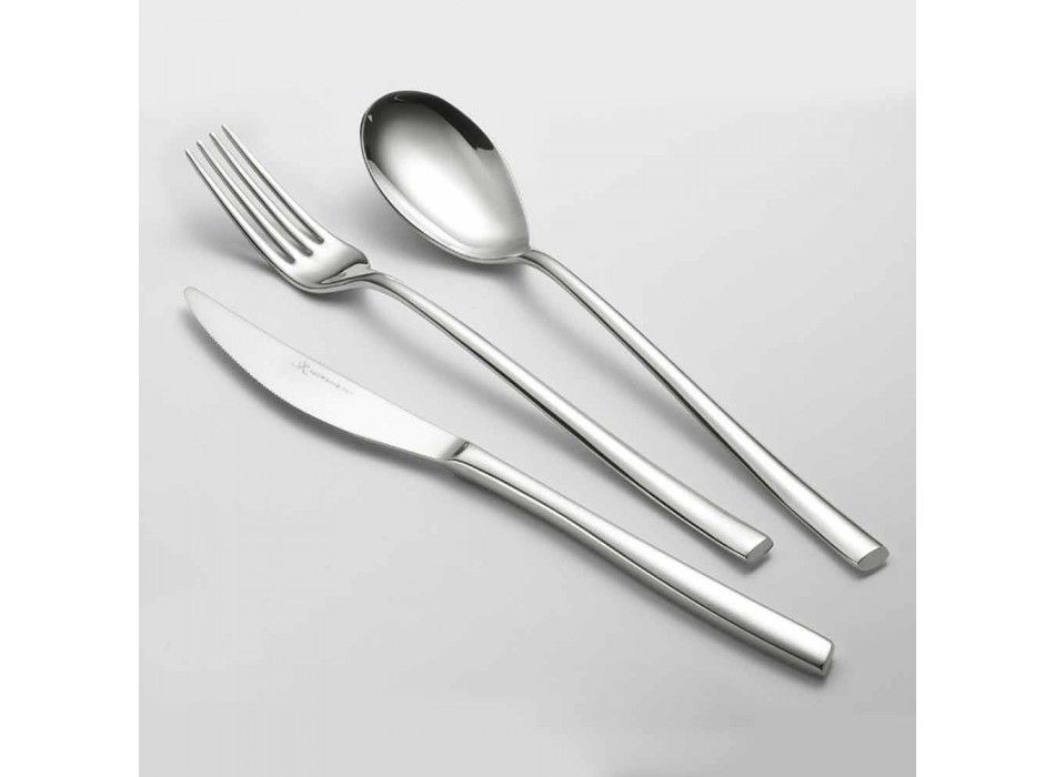 Complete Cutlery Set in Polished Stainless Steel Modern Design 24 Pieces - Sharpy