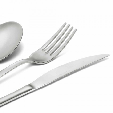 Cutlery Set in Sandblasted Stainless Steel 24 Pieces of Elegant Design - Ronfo