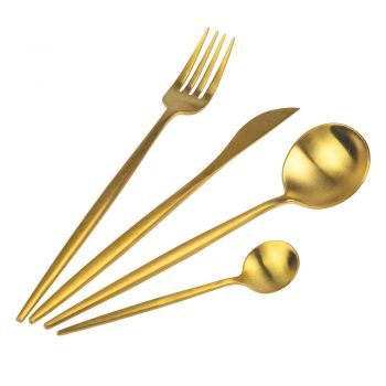 24 Pieces Matte Black, Gold or Silver Cutlery Set - Patinero