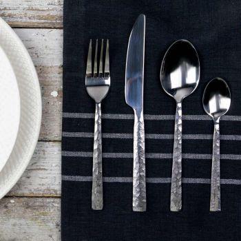 24 Pieces Satin Steel Hammered Effect Cutlery Set - Martollo