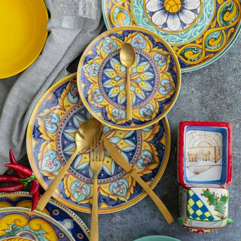 Complete Table Service in Porcelain and Colored Stoneware 18 Pieces - Calabria