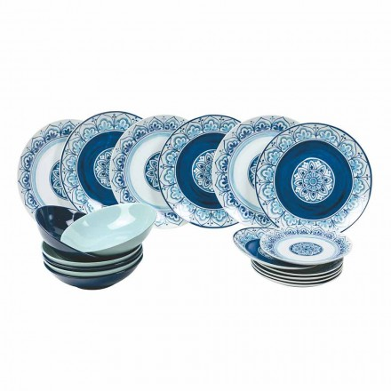 Modern Table Service Porcelain and Stone Plates Complete 18 Pieces - Ravello