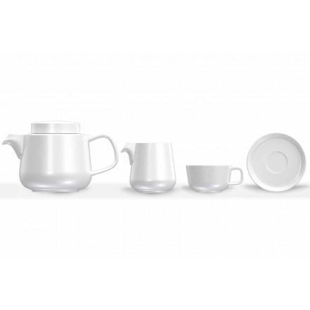 Porcelain Cup and Saucer Service, Porcelain Teapot and Milk Jug 14 Pieces - Arctic