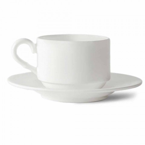 Coffee Cup Set in White Porcelain Design Stackable 15 Pieces - Samantha