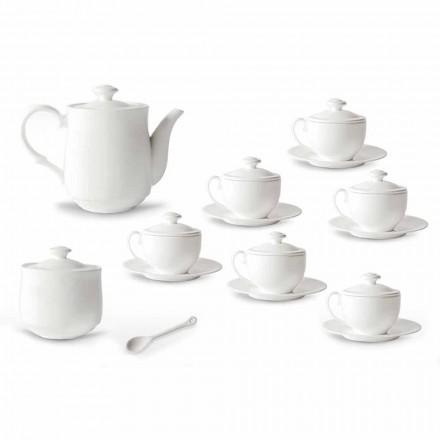 White Porcelain Tea Cup Set 21 Pieces with Lid - Samantha