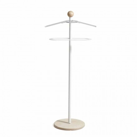 Modern design valet stand Fedor, natural wooden base and white metal