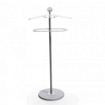 Modern design valet stand Fedor, grey painted metal & chromed details