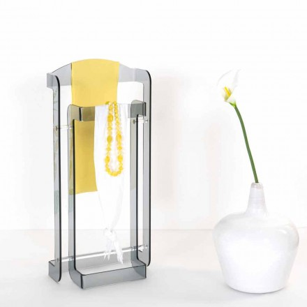 Modern design coat rack made of fumé plexiglass Mose, made in Italy