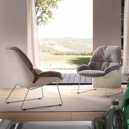 Modern armchair Betulla, with white shell and grey cushion