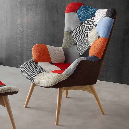 Modern multi coloured patchwork armchairs Veronica, solid wood legs