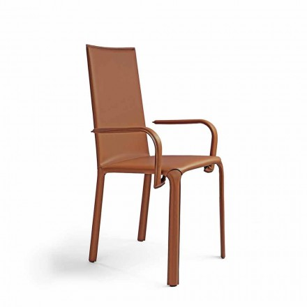 Chair Upholstered in leather, Eco-leather or Hide leather with Steel Structure - Bloom