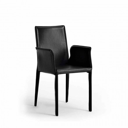 Chair with Steel Structure Covered in Leather - Modern Design Jolie