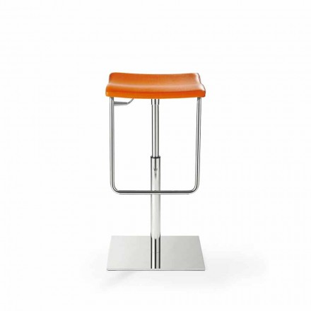 Wooden Stool with Square Base in Chromed Steel and Upholstery - Armstrong