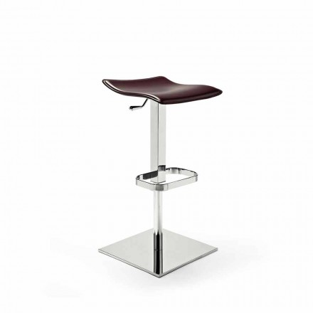 Stool in Wood, Steel and in Leather, Leather or Faux Leather - Lewis Model
