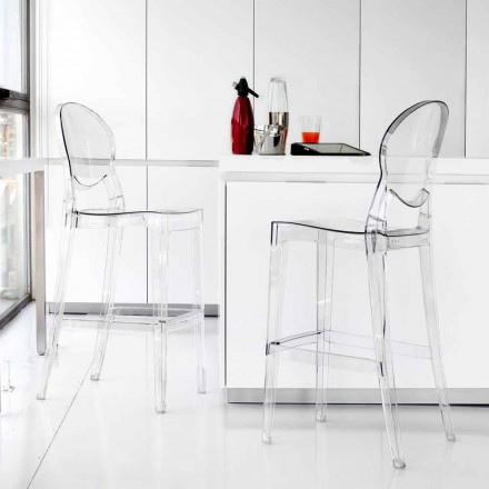 Stool Bosa, made of clear polycarbonate, modern design