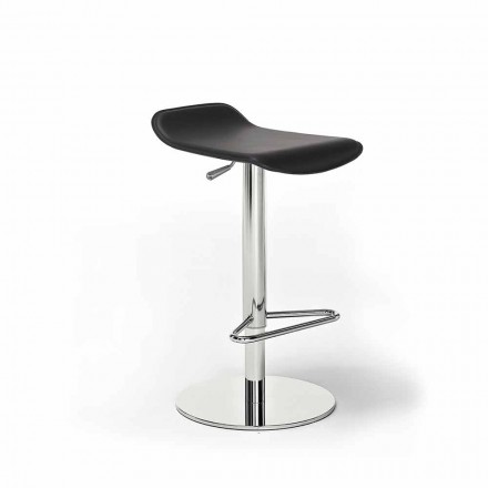 Stool in Faux Leather, Leather or Hide, Steel and Wood Structure - Peck Model