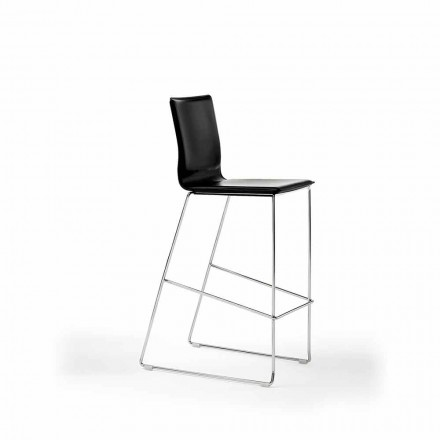 Stackable Design Stool in Steel, Wood, Leather, Faux Leather or Leather, 2 Pieces