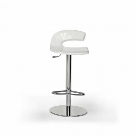 Design Stool in Wood, Steel with Leather or Leather Upholstery - Turner