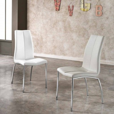 Set of 4 eco-leather and chrome-plated metal chairs Alba,modern design