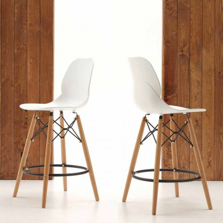 Modern design stool Torretta, made of solid wood and polypropylene