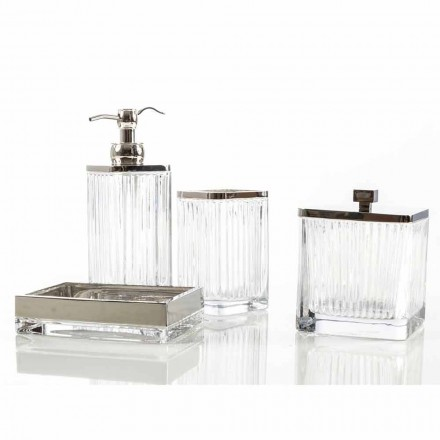 Modern bathroom accessories set made with metal and glass Priola