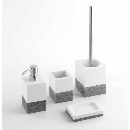 Set of Designer Bathroom Accessories in White and Gray Resin - Saeda