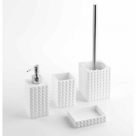 Set of Modern Bathroom Accessories in White Resin or Sand - Pearls