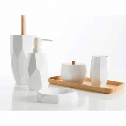 Design bathroom accessory set made with wood and resin Rivalba