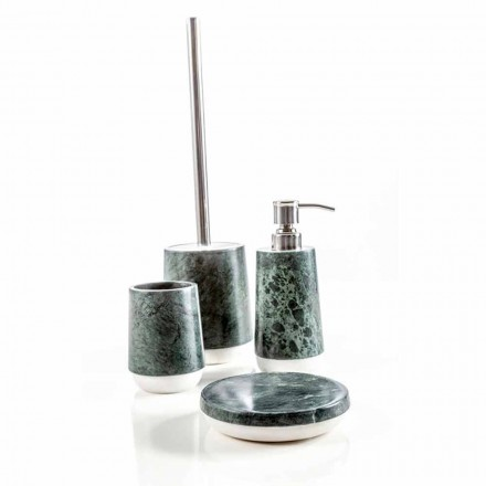 Modern bathroom accessories set in mottled green marble Bombei