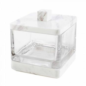 Modern bathroom accessories set in Calacatta marble and Carona glass