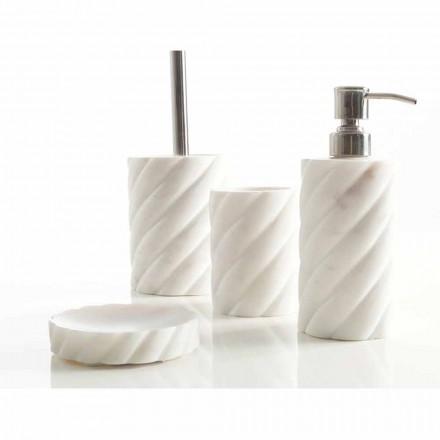Bathroom accessories design set in Calacatta marble Monza