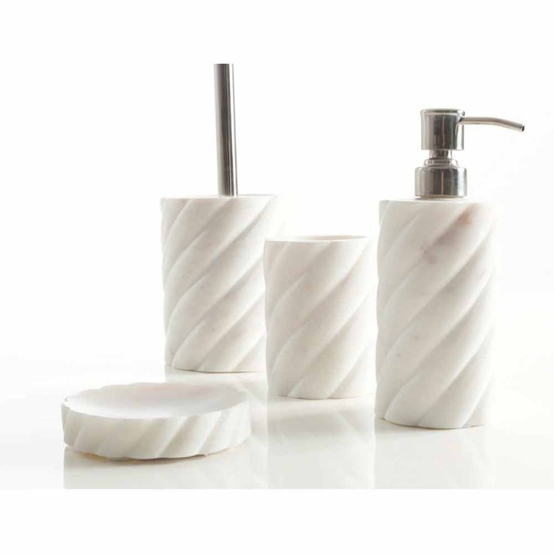 Bathroom design accessories set in Calacatta Monza marble